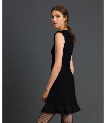 Черное платье TWIN-SET 192TT2061 с плиссированными деталями