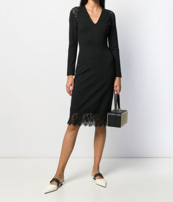 Черное платье TWIN-SET 192TT2214 с кружевными вставками