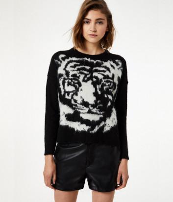 Черный джемпер Liu Jo M69125 с изображением тигра