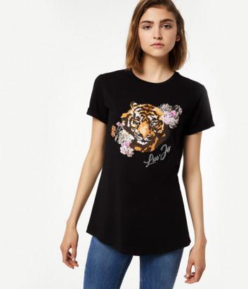 Черная футболка Liu Jo W69255 с изображением тигра