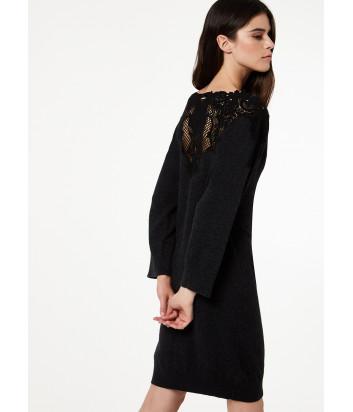Черное трикотажное платье Liu Jo M69048 с кружевом