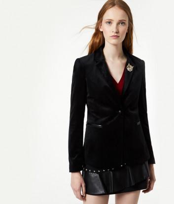 Черный бархатный пиджак Liu Jo W69268 декорирован брошью