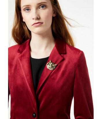 Вишневый бархатный пиджак Liu Jo W69268 декорирован брошью