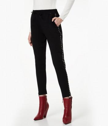 Черные брюки Liu Jo W69321 с металлическими элементами