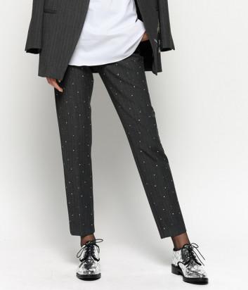 Классические зауженные брюки PINKO 1B143W с заклепками серые