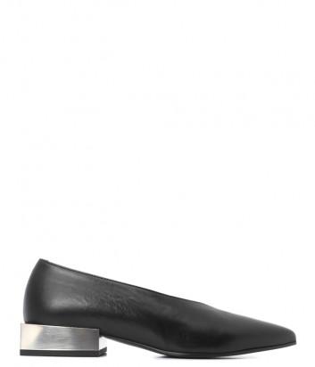 Черные кожаные туфли Vic Matie 1V8076D на маленьком металлическом каблуке