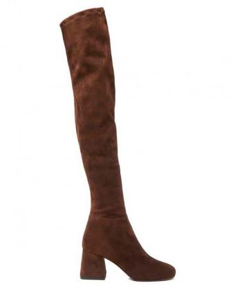 Замшевые ботфорты Vic Matie на среднем каблуке коричневые