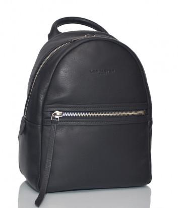 Кожаный рюкзак Lancaster 578-96 с внешним карманом черный