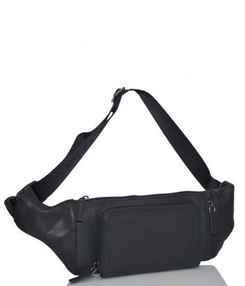 Кожаная поясная сумка Lancaster 320-11 с внешним карманом черная