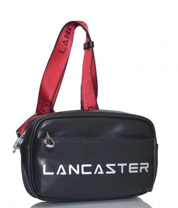 Кожаная поясная сумка Lancaster 322-15 с внешним карманом черная
