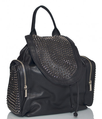 Черный кожаный рюкзак Fru.it 1057 в заклепках с внешними карманами по бокам
