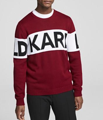 Бордовый свитер Karl Lagerfeld 655046 с белой полоской и логотипом