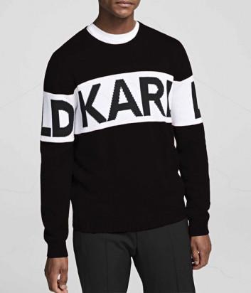 Черный свитер Karl Lagerfeld 655046 с белой полоской и логотипом