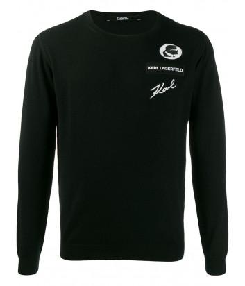 Шерстяной свитер Karl Lagerfeld 655007 черный с нашивками