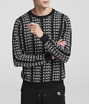 Двухсторонний свитер Karl Lagerfeld 655014 черный с белыми надписями