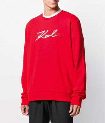 Толстовка Karl Lagerfeld 705014 с вышитым логотипом красная