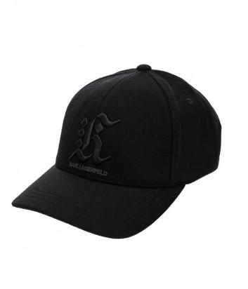 Черная бейсболка Karl Lagerfeld 805612 из шерсти с вышивкой