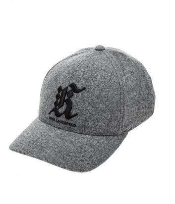 Серая бейсболка Karl Lagerfeld 805612 из шерсти с вышивкой