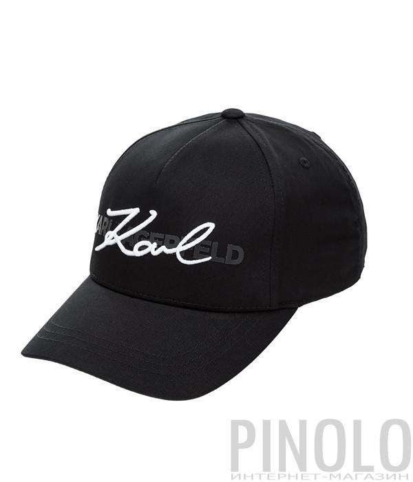 Черная кепка Karl Lagerfeld 805617 с принтом и вышивкой