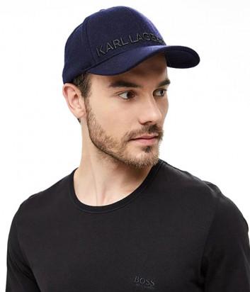 Синяя бейсболка Karl Lagerfeld 805610 из шерсти с вышивкой