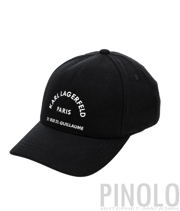 Черная бейсболка Karl Lagerfeld 805611 из шерсти с белым принтом