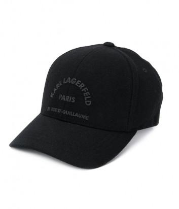 Черная бейсболка Karl Lagerfeld 805611 из шерсти с принтом в тон