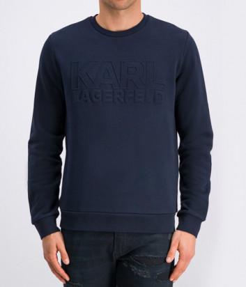 Толстовка Karl Lagerfeld 705013 с тисненым логотипом темно-синяя