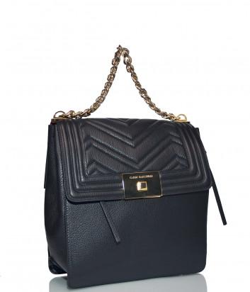 Кожаный рюкзак Carlo Salvatelli 522 с ручкой-цепочкой черный