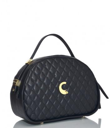 Кожаная сумка Carlo Salvatelli 506AF полукруглой формы черная