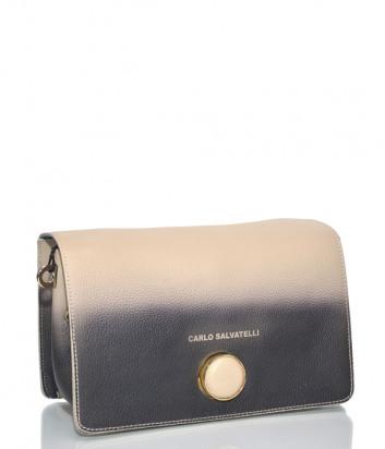 Кожаная сумка через плечо Carlo Salvatelli 515 с эффектом деграде коричнево-бежевая