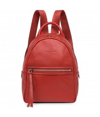 Кожаный рюкзак Lancaster 578-96 с внешним карманом красный