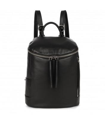 Кожаный рюкзак Lancaster 578-79 с круговой молнией черный