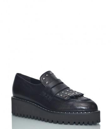 Кожаные туфли на танкетке Jeannot 76302 черные