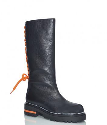 Черные кожаные сапоги Jeannot 70286 с оранжевым шнурком на голенище