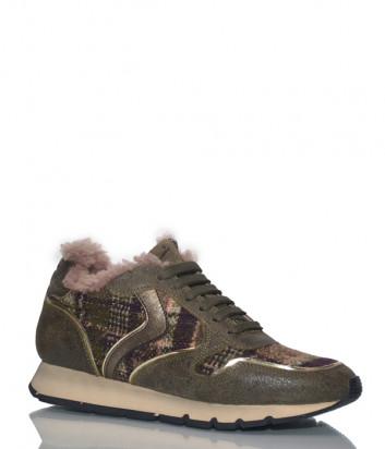 Кожаные кроссовки Voile Blanche 2014171 на меху оливковые