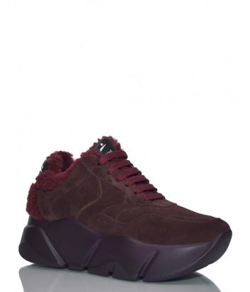 Замшевые кроссовки Voile Blanche 2014295 на платформе с мехом бордовые