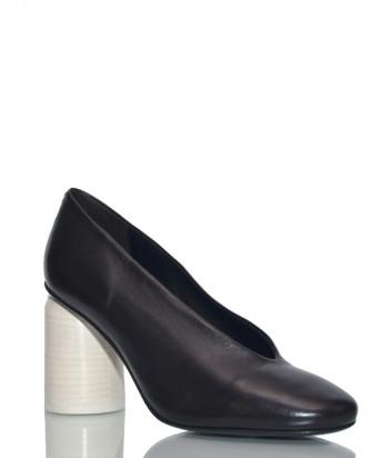 Кожаные туфли Halmanera Eagle черные на белом каблуке