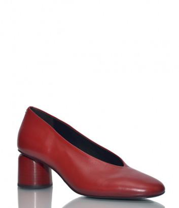 Кожаные туфли Halmanera Anya на круглом каблуке красные