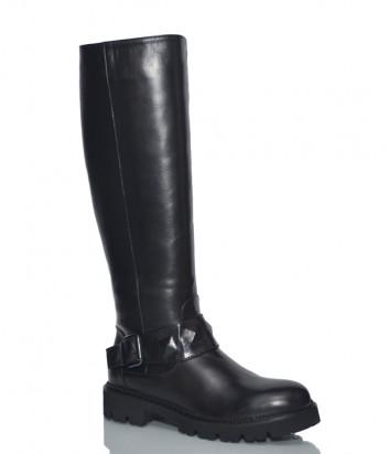 Кожаные сапоги H'estia di Venezia 9848 с мехом на низком каблуке черные