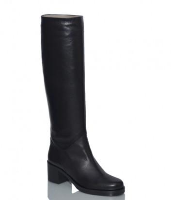 Кожаные сапоги H'estia di Venezia 9852 на широком каблуке черные