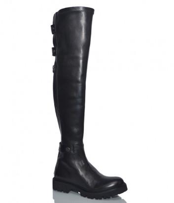 Кожаные ботфорты H'estia di Venezia 9828 на низком каблуке черные