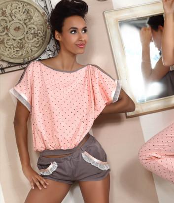 Комплект Pigeon 374-1 футболка и шортики розово-кофейный