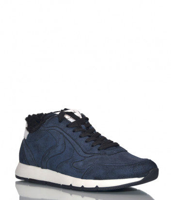 Кожаные кроссовки Voile Blanche 2014213 на меху синие