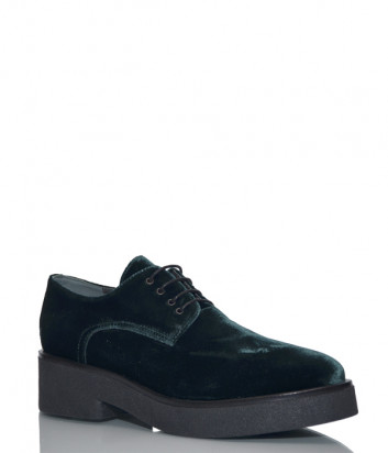 Кожаные туфли Fru.it 5808 с бархатной отделкой изумрудные