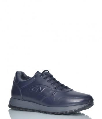 Кожаные кроссовки Giampiero Nicola 39301 на меху синие