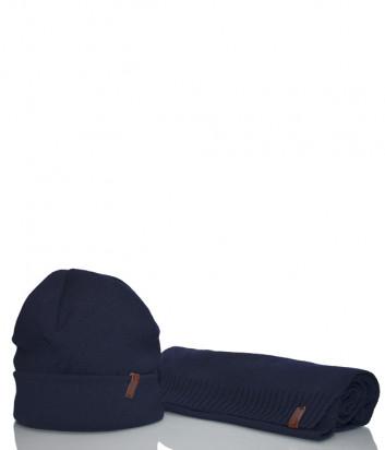 Мужской комплект Baldinini шарф и шапка темно-синий (можно по отдельности)