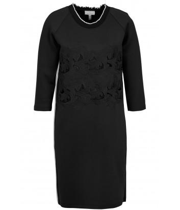 Черное платье Sportalm 909304 с ажурной вышивкой и вырезами
