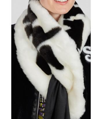 Меховой шарф Sportalm 909713 черно-белый с надписями