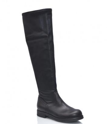 Кожаные сапоги Fru.it 5599 на маленьком каблуке черные