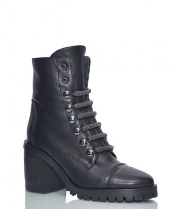 Кожаные ботинки Fru.it 5924 на широком каблуке черные